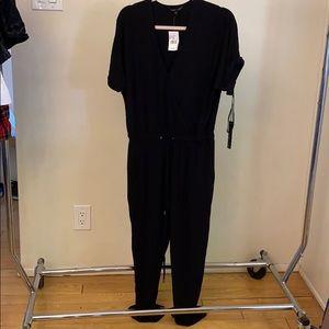 Short sleeve crossover jumpsuit